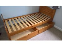 Single Pine Bed with Draws