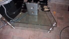 Large Glass Corner TV Table