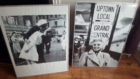 Large Marilyn Monroe and Victory Kiss framed prints