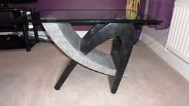 Travertine and glass coffee tables for sale