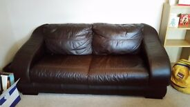 3 + 2 piece brown leather sofas.
