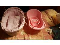 Moses basket as new and bath set