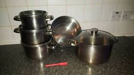 Stainless Steel Pot Set with Glass Lids - 5 pieces