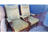 Two Green Fireside Chairs in Good Condition