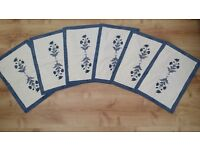 Table Mats blue and white flower cloth never used