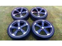 "Audi VW Black Rotor / Rotar Style Alloy Wheels 19"" BARGAIN"