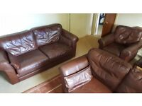 Chocolate Brown Leather 3 Seat 2 Seat & Armchair