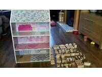 Wooden dolls house and kitchen and 38 wooden furniture