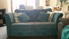 Sofa bed. Teal cord. Metal frame