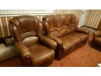 Brown leather sofa 6 piece complete set