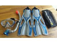 KIDS BODY GLOVE SNORKEL, MASK AND FINS in excellent condition.