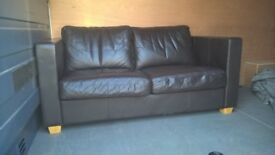 Modern Brown Leather Sofa *FREE LOCAL DELIVERY* 2 Two Seater