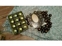 Christmas baubles in brown and green