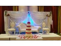 Wedding Stages,Floral Stages, Mehndi Stages, Chair Covers, Centrepieces for Hire