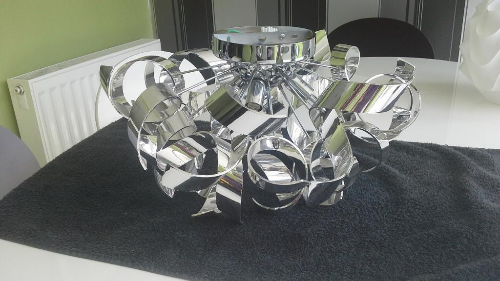 Chrome Ribbon Effect Flush Ceiling Light 2 Available