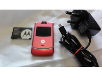 Pink Motorola V3 RAZR Mobile Phone Flip Unlocked Pink / Charger / Battery Perfect Condition