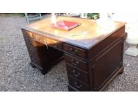 Large Mahogany Antique Reproduction Pedestal Desk with Inset Leather Inlay Top