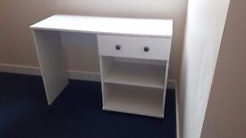 White desk with drawer and shelf, good quality
