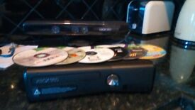 Used x box 360 with selection of games and kinect