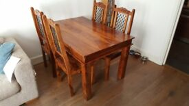 Rustic wooden dining table and 4 chairs