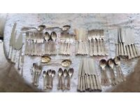 FABULOUS BARGAIN of King's Pattern A1 silver cutlery. 12 each of 11 items plus various servers