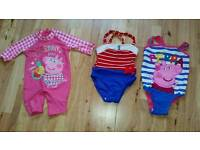 Set of 3 Brand New Baby Girls Swimming Wear ( Sizes 0-3 Months and 2 of them Sizes 9-12 Months )