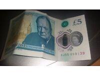 Aj55 new £5 note winstin churchill
