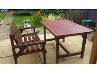 Wooden garden table, bench and 3 folding chairs.