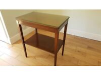 2 Tier Side / Hall / Telephone Table With Glass Top In Good Condition