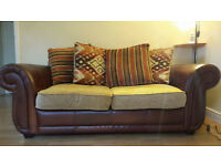 Double sofa bed half leather/fabric