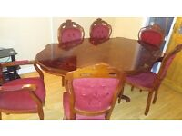 6 Maroon Velvet Chairs with Large Traditional Dining Table