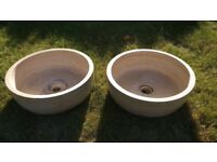 2 x Reclaimed Marble Sinks - Ideal for Garden Planters