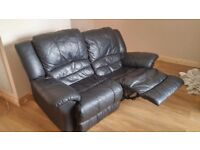 Reclining sofa black leather £60 collection only