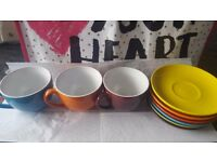 Colourful Cups & Saucers