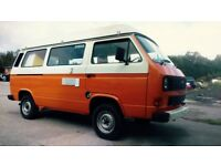 VW T25 TOP SPEC, FULLY RENOVATED CAMPER VAN, 2 TONE BURNT ORANGE/VINTAGE WHITE - 'FOR SALE'