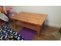 Pine wood effect large coffee table