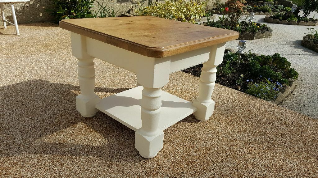 Solid Pine Coffee Table With Base Finished In Rustoleum Chalk Paint