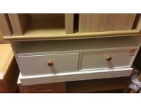 2 drawer coffee table - white with wooden top