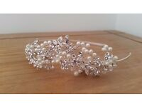 Designer Crystal and Pearl floral Headband