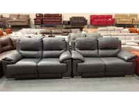 Ex-display Falcon dark grey leather electric recliner pair of 2 seater sofas