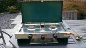 Two ring plus grill camping gas cooker.