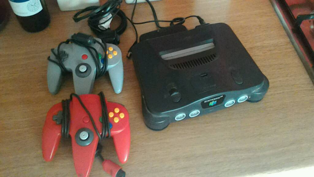 Nintendo 64 with two controllers and rumble pak, works perfectly