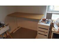 Ikea Bekant Desk (Oak veneer with white frame, 140x60cm)