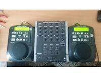 Two American Audio CDI 100 MP3 (Pair) and Gemini PS-626USB Mixer