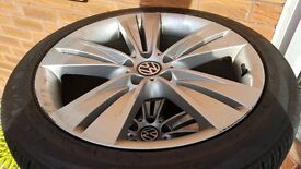 """VW 20"""" alloy wheels and partially used tyres"""