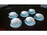 Vintage China, Midwinter (Cassandra Pattern) 2 handled soup bowls and saucers x 6