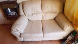 Cream Leather Sofa - Good condition