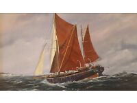 BARGE AT SEA Beautiful original oil painting by A.L.BRYANT 62 x 52cm framed