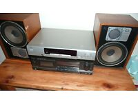 CD/DVD PLAYER , TECHNICS CASSETTE PLAYER, WHARFEDALE SPEAKERS