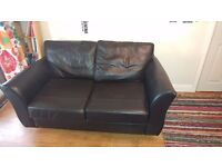 M&S Black Leather Sofa Bed
